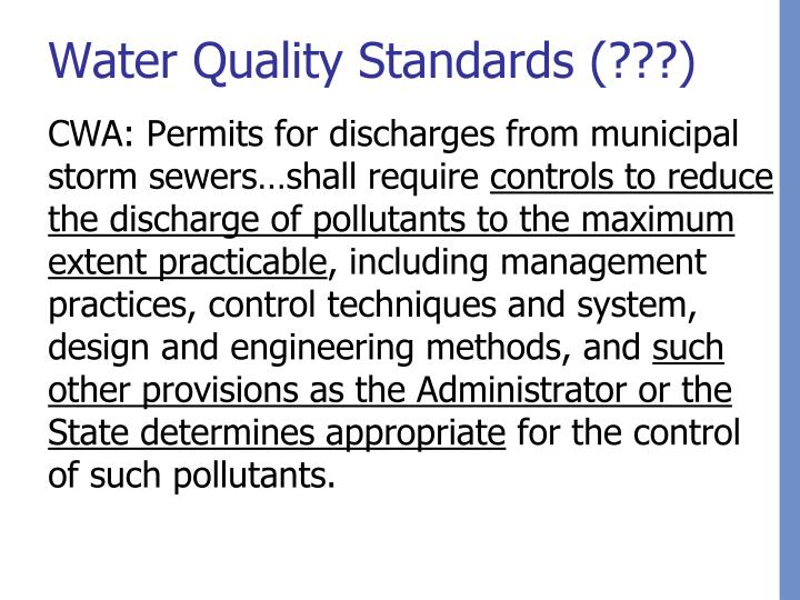 Water Quality Standards (???)