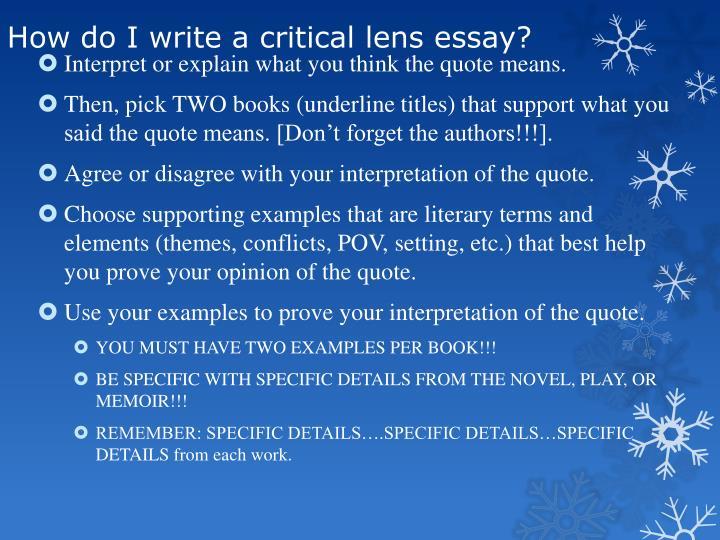 How do I write a critical lens essay?