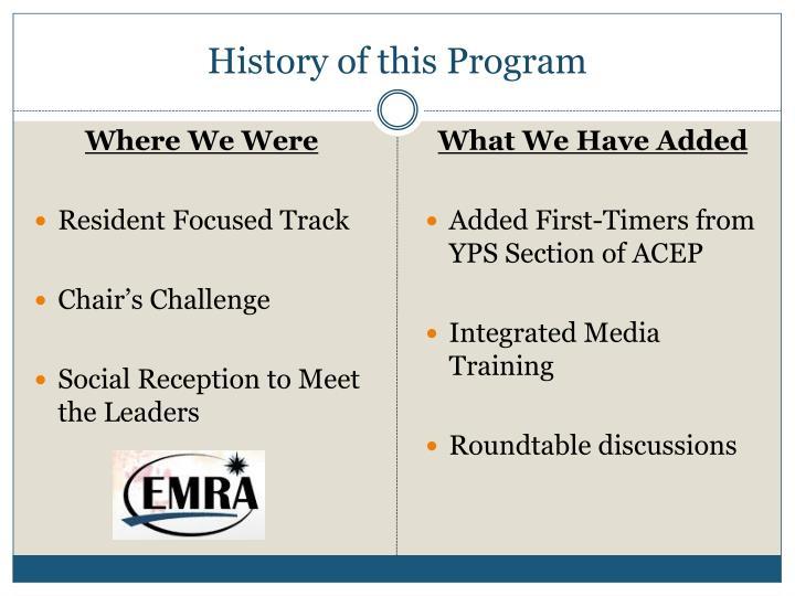 History of this Program