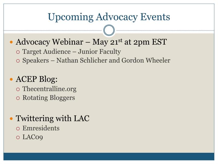 Upcoming Advocacy Events