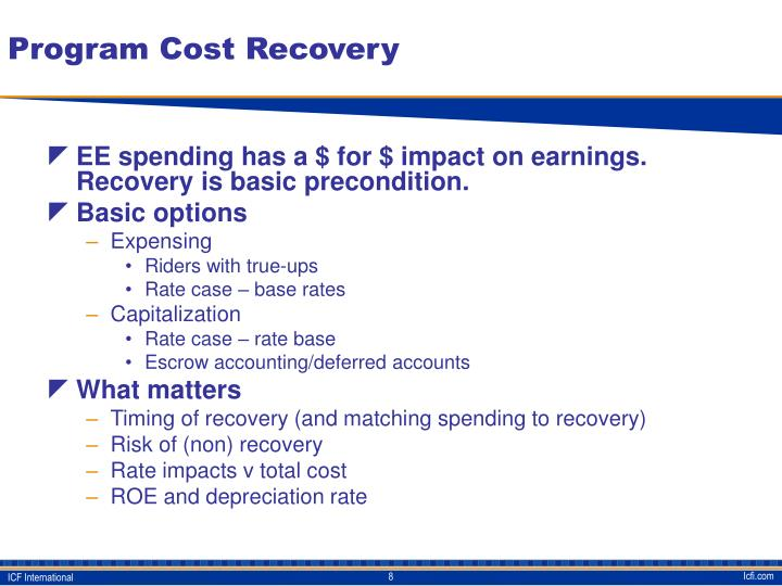 Program Cost Recovery