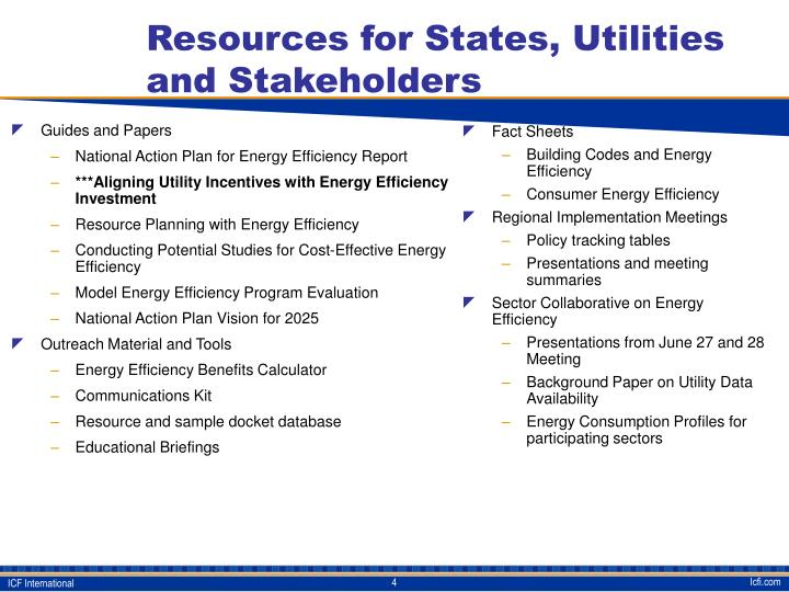 Resources for States, Utilities and Stakeholders