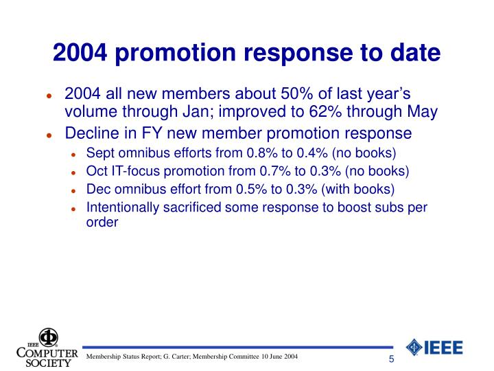2004 promotion response to date