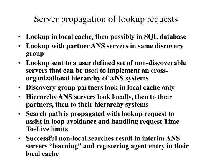 Server propagation of lookup requests