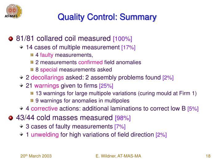 Quality Control: Summary