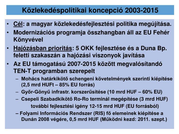 Közlekedéspolitikai koncepció 2003-2015
