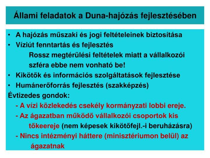Állami feladatok a Duna-hajózás fejlesztésében