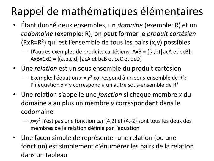 Rappel de mathématiques élémentaires