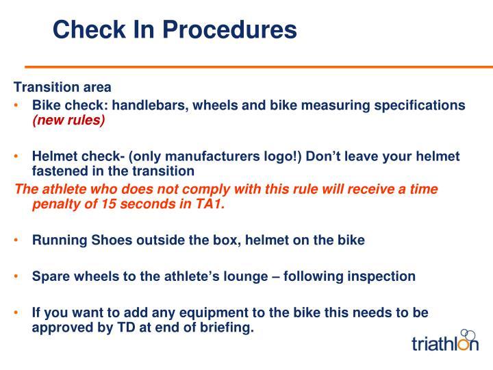 Check In Procedures
