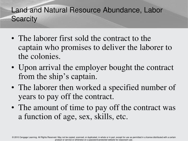Land and Natural Resource Abundance, Labor Scarcity