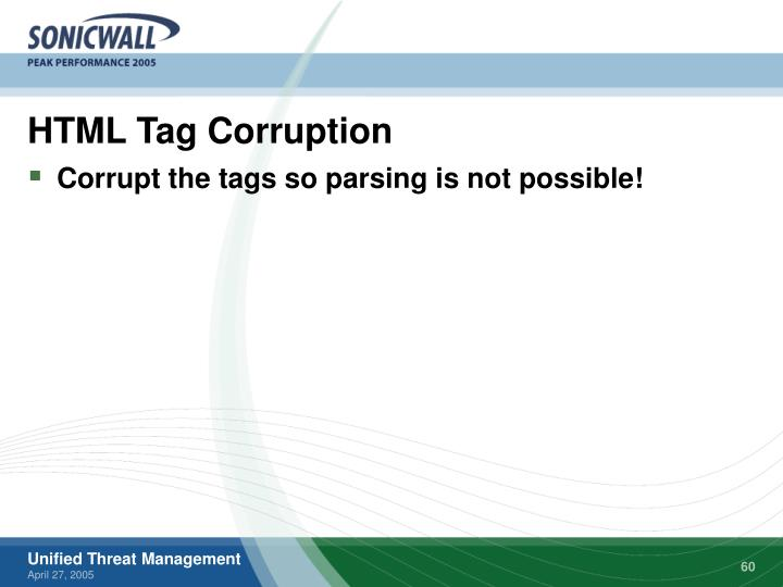 HTML Tag Corruption