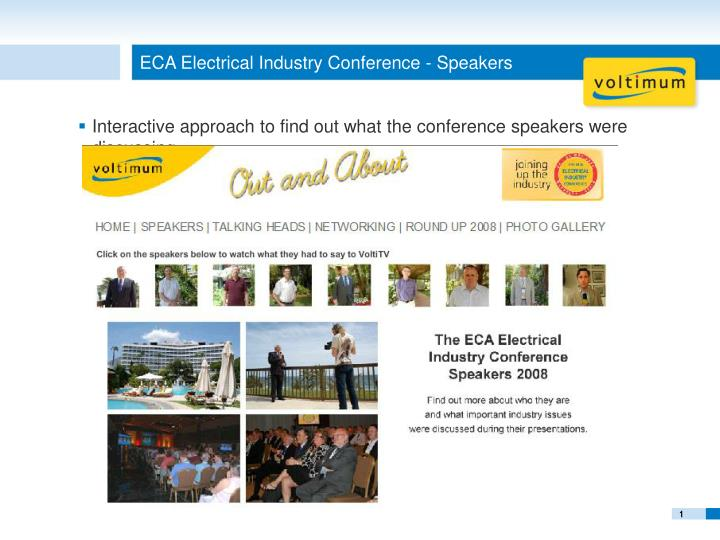 Eca electrical industry conference speakers