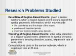 research problems studied