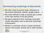 summarizing clusterings of documents