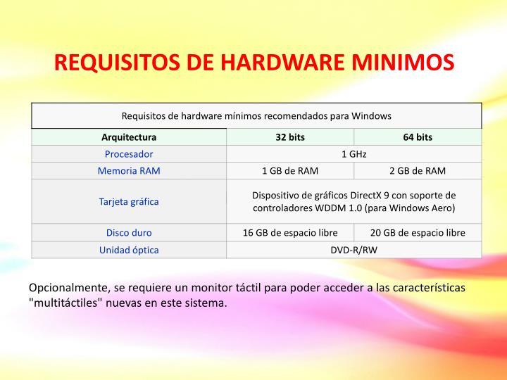 REQUISITOS DE HARDWARE MINIMOS