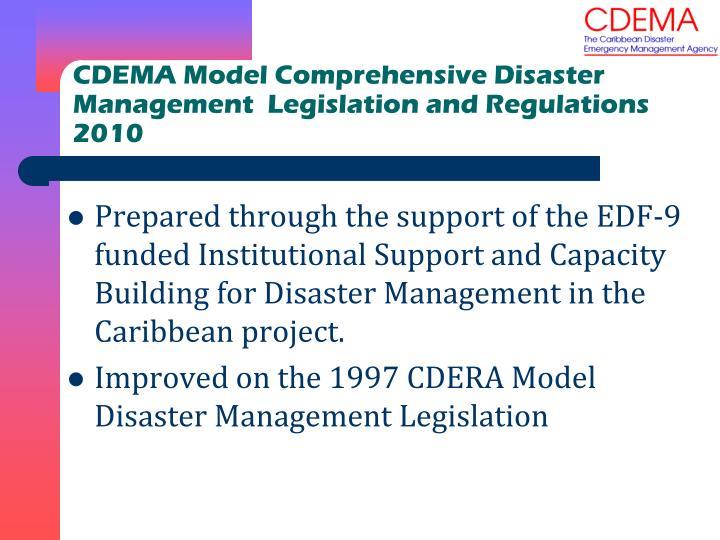 CDEMA Model Comprehensive Disaster Management  Legislation and Regulations 2010
