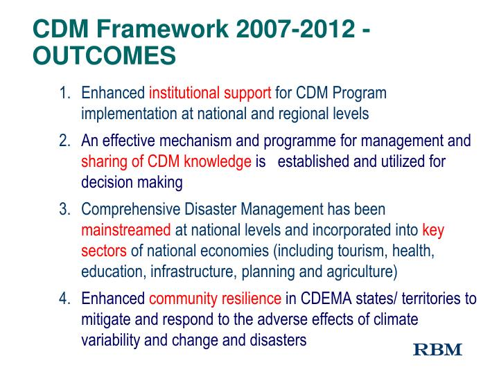 CDM Framework 2007-2012 - OUTCOMES
