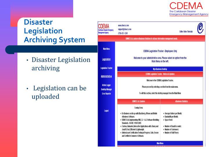 Disaster Legislation Archiving System