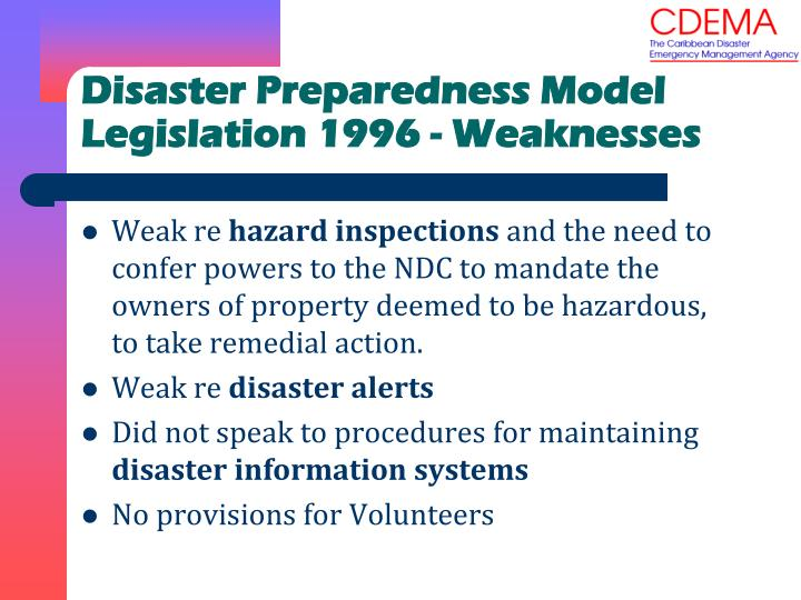 Disaster Preparedness Model Legislation 1996 - Weaknesses