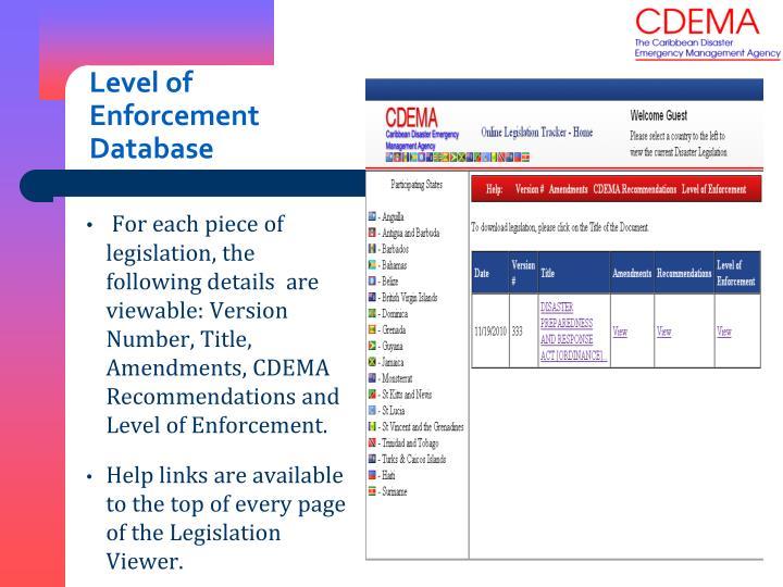Level of Enforcement Database