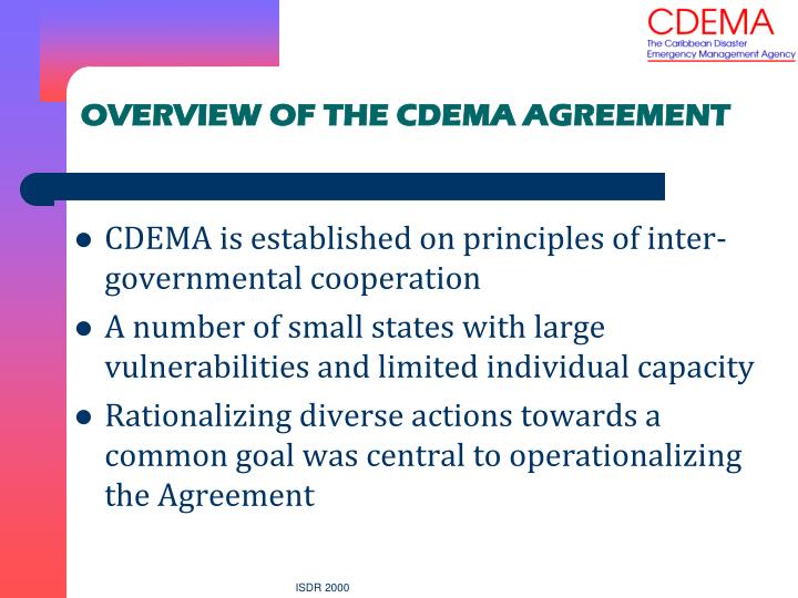 OVERVIEW OF THE CDEMA AGREEMENT
