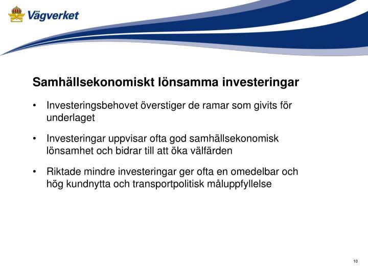Samhällsekonomiskt lönsamma investeringar