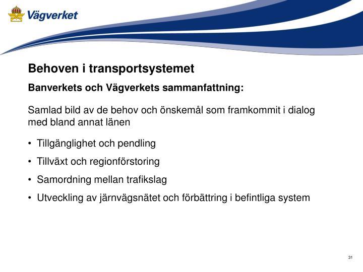 Behoven i transportsystemet
