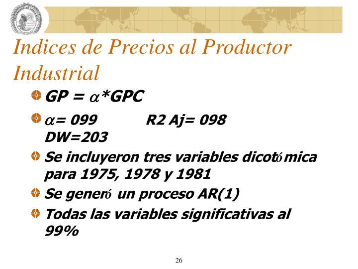 Indices de Precios al Productor Industrial