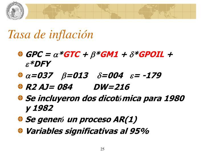 Tasa de inflación