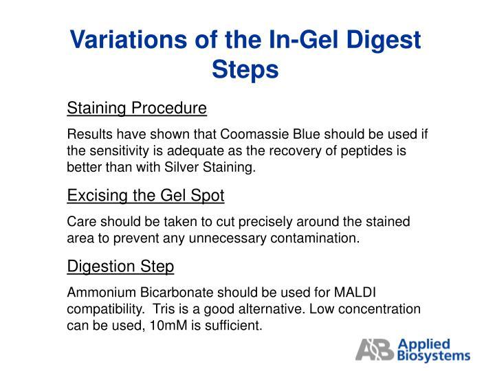 Variations of the In-Gel Digest Steps