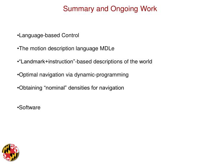 Summary and Ongoing Work