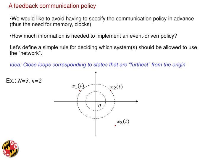 A feedback communication policy