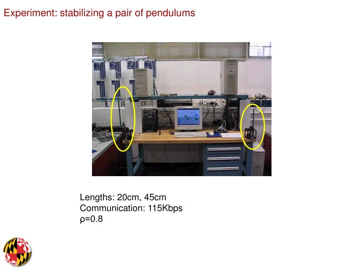 Experiment: stabilizing a pair of pendulums