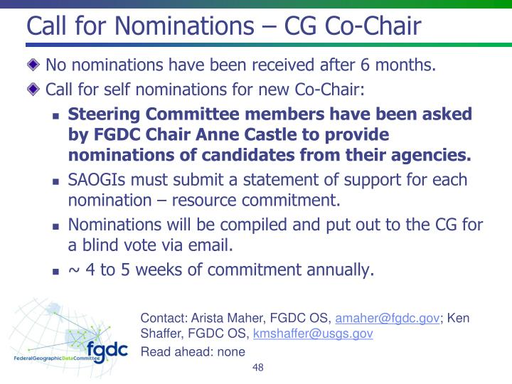 Call for Nominations – CG Co-Chair