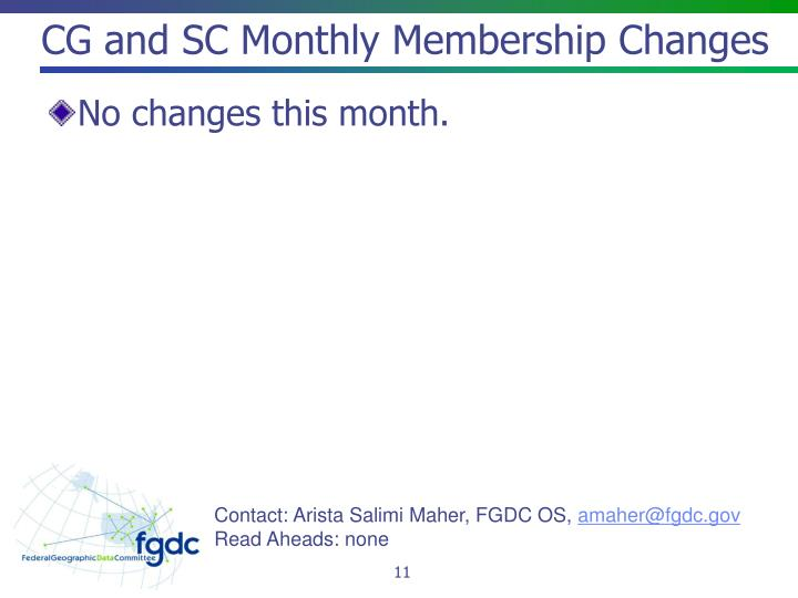 CG and SC Monthly Membership Changes