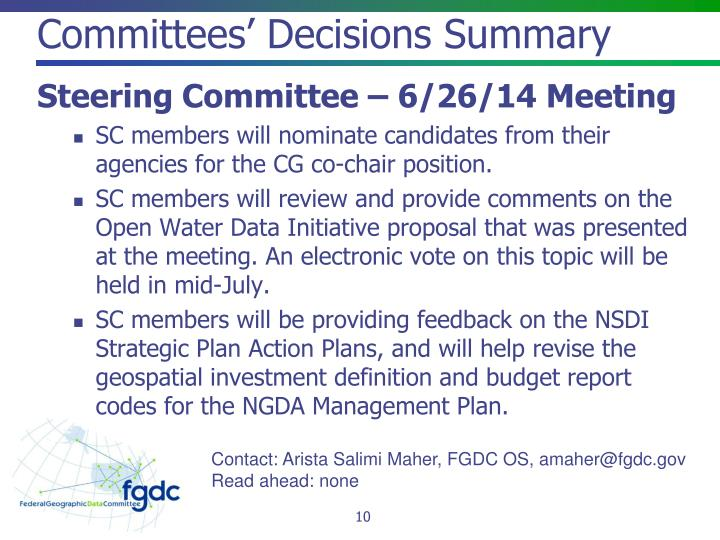 Committees' Decisions Summary