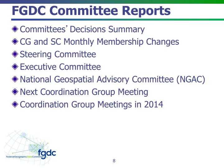 FGDC Committee Reports