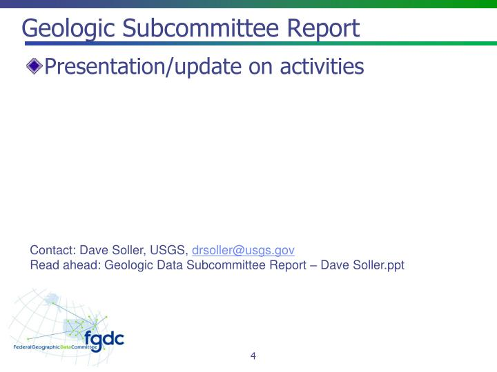 Geologic Subcommittee Report