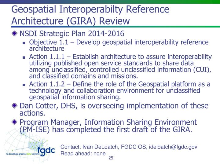 Geospatial Interoperabilty Reference Architecture (GIRA) Review