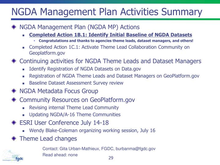 NGDA Management Plan Activities Summary