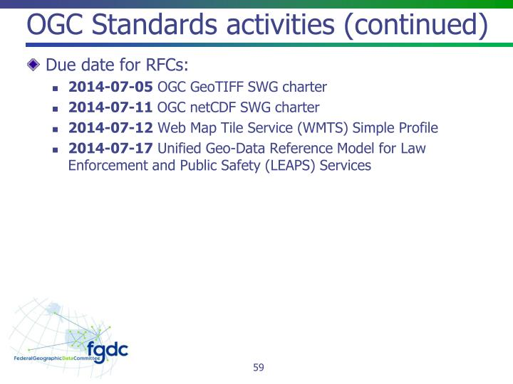 OGC Standards activities (continued)