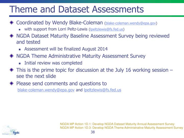 Theme and Dataset Assessments