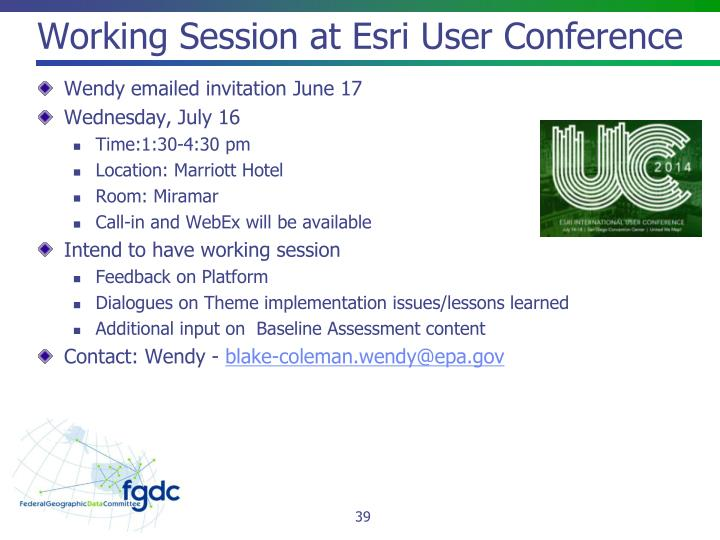 Working Session at Esri User Conference