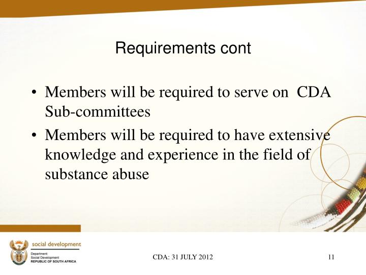 Requirements cont