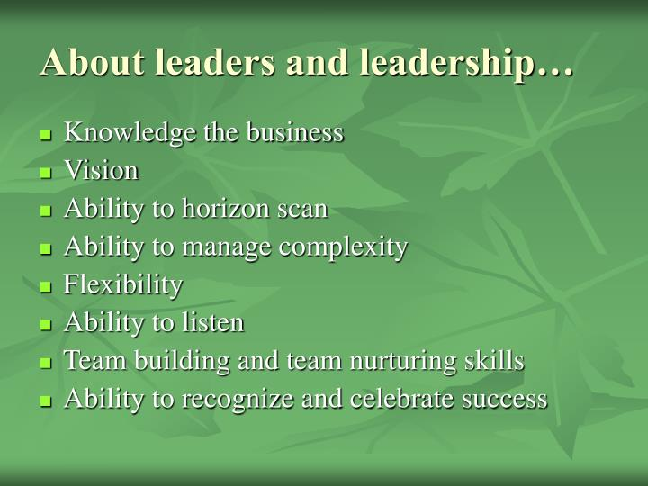 About leaders and leadership…