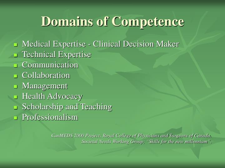 Domains of Competence