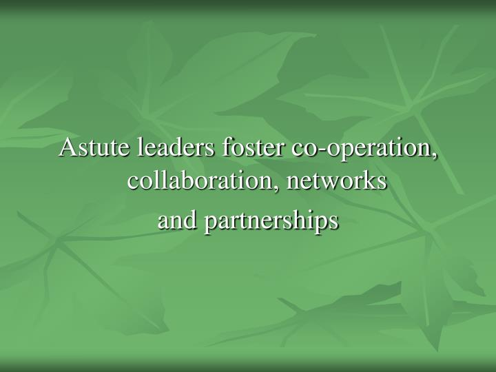 Astute leaders foster co-operation, collaboration, networks