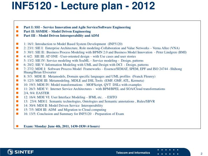 INF5120 - Lecture plan - 2012