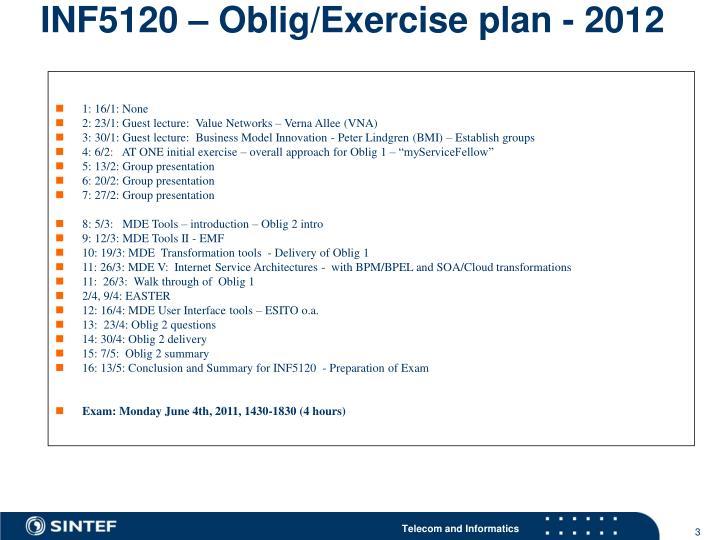 INF5120 – Oblig/Exercise plan - 2012