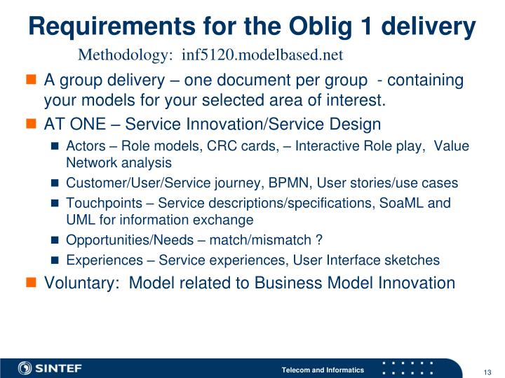 Requirements for the Oblig 1 delivery